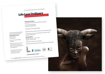 Image of the Life Less Ordinary private view invitation card