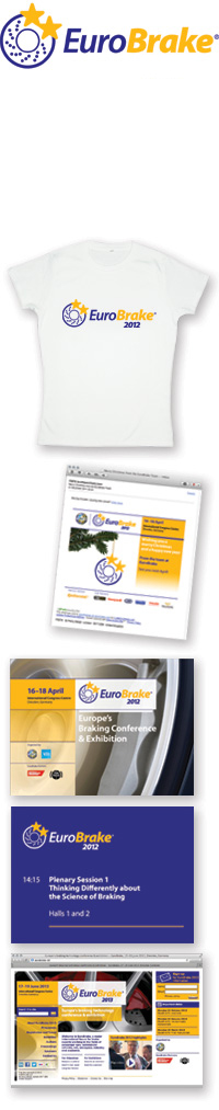 Images of the EuroBrake identifier, t-shirt, Christmas 2011 email, PowerPoint template, and 2013 web site home page.