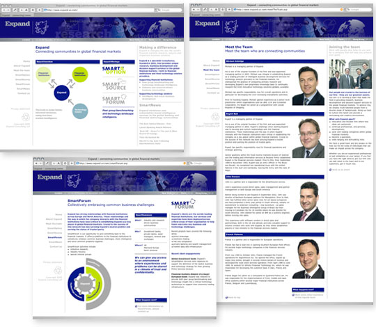 Image of pages from the web site we designed for Expand