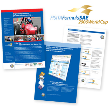 Image of Formula SAE information material and advert for online Bookstore
