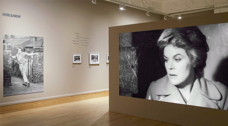 Image showing a view of the exhibition and the film being shown