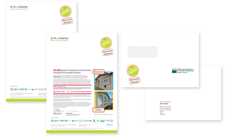 Images of Streets Ahead branded letterhead, direct marketing letter and envelope