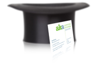 Image of aka business card in front of an upturned top hat