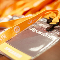 Image of City Car Summit branded lanyards and badges