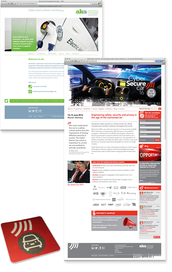 Image of aka corporate web site home page and Cyber Secure Car web site home page