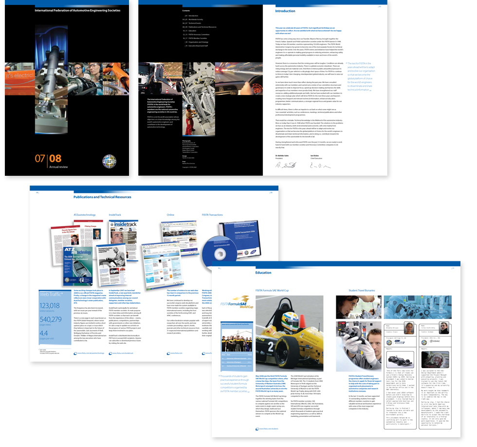 Image of cover and spreads from the FISITA 2007-2008 annual review
