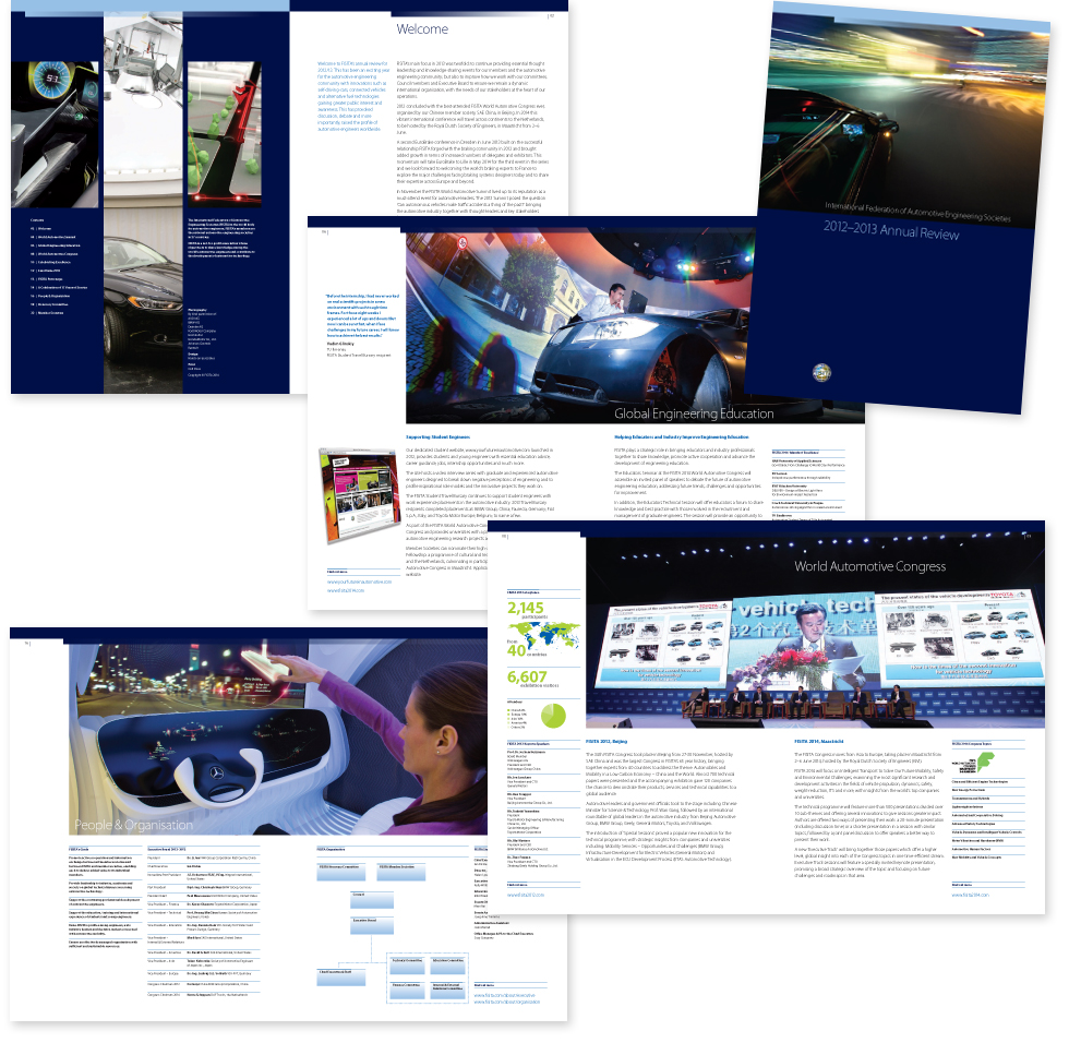 Image of cover and spreads from the FISITA 2012-2013 annual review