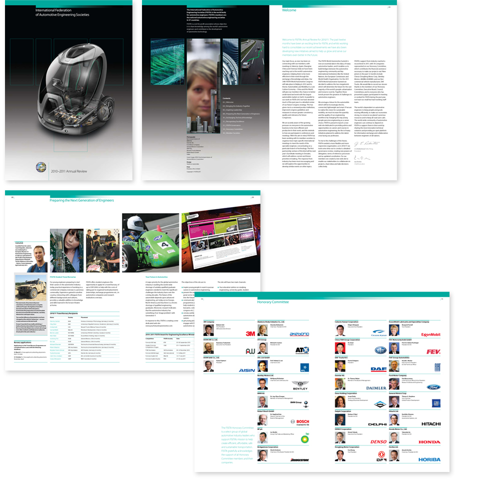 Image of cover and spreads from the FISITA 2010-2011 annual review