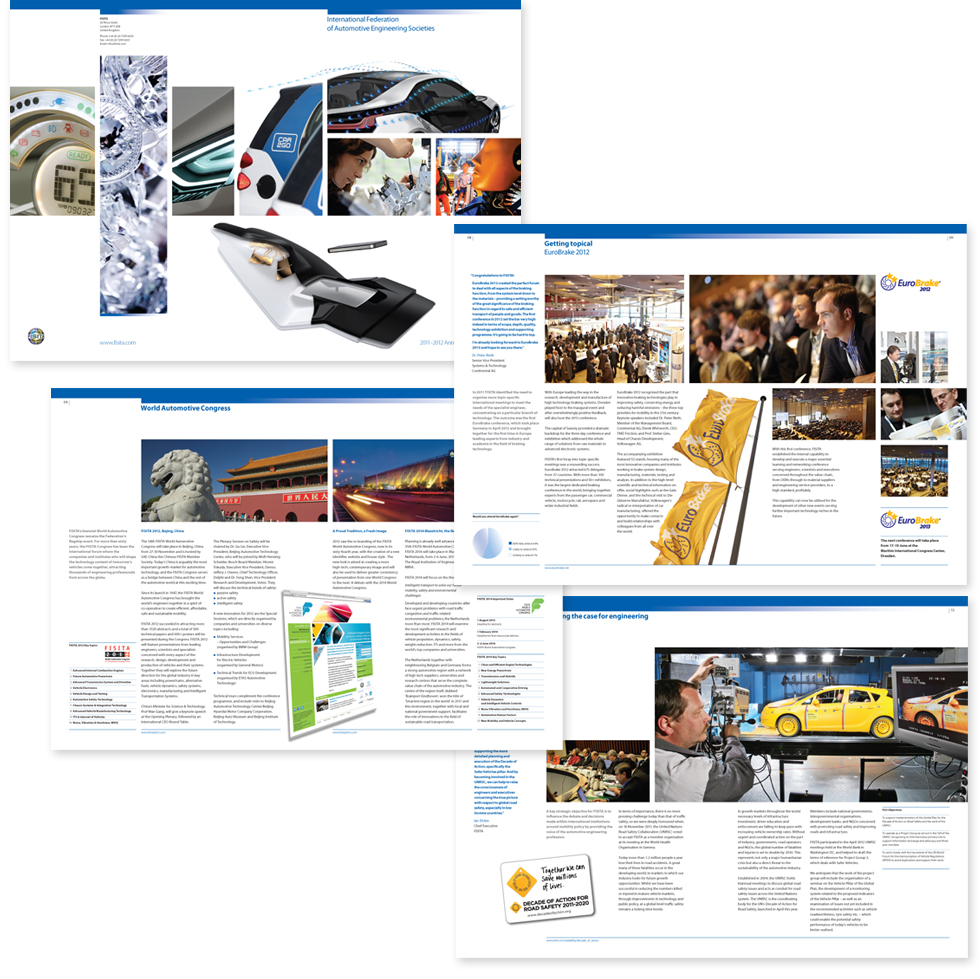 Image of cover and spreads from the FISITA 2011-2012 annual review